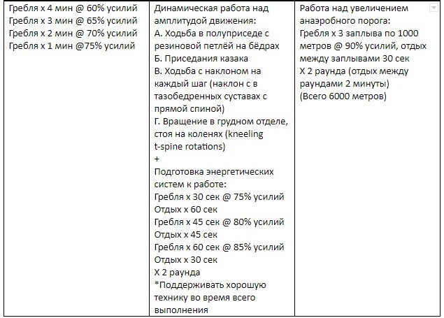 Пример разминки для циклической работы над развитием энергетических систем (в этом примере подготовка к навыку и подготовка энергетических систем объединены)